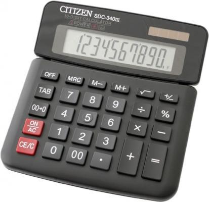 Калькулятор настольный Citizen SDC-340III 10-разрядный черный citizen настольный калькулятор sdc 660ii