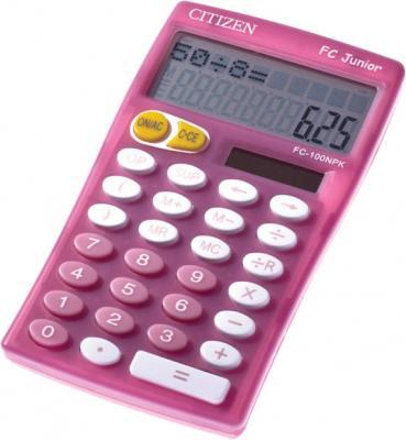 Калькулятор карманный Citizen Junior FC-100NPK 10-разрядный розовый калькулятор citizen cool4school lc 110npk 8 разрядный розовый
