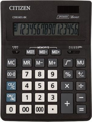 Калькулятор настольн BUSINESSLINE,16 разр., дв. питание, 2 памяти, черный корпус, разм.200*157*35 мм