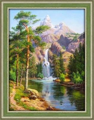 Алмазная живопись Горный водопад 30*40 живопись diy digital painting diy 30 40