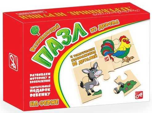 Пазл деревянный Русские деревянные игрушки На ферме 4 элемента Д548а