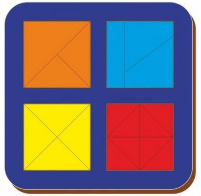 Купить Рамка вкладыш Woodland Сложи квадрат. 4 квадрата. Уровень 2 от 3 лет, Головоломки для детей