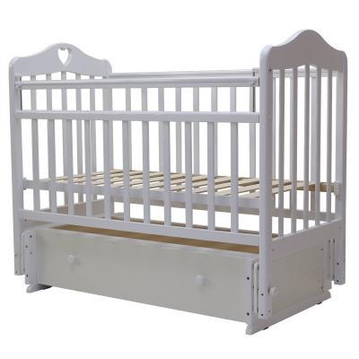 Купить Кроватка с маятником Топотушки Оливия-7 (арт. 36/с сердечком/белый), береза, Кроватки с маятником