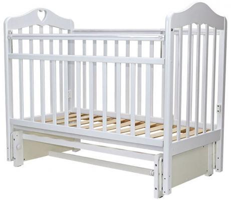 Купить Кроватка с маятником Топотушки Оливия-5 (арт. 37/с сердечком/белый), береза, Кроватки с маятником