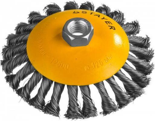 Кордщетка STAYER PROFESSIONAL 35135-125 коническая М14 плетёная 0.5мм d125мм кордщетка stayer professional 35137 080