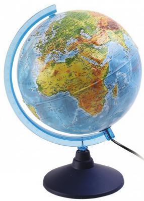 Глобус Земли физико-политический рельефный с подсветкой, D-250 мм глобус земли ландшафтный рельефный на треугольнике с подсветкой диаметр 210 мм