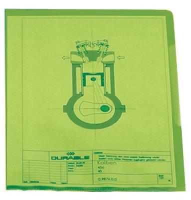Папка-уголок DURABLE, толщина пластика 0.15 мм, выемка для пальца, зеленая, цена за 1 шт