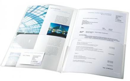Папка- уголок ESSELTE двойная с прорезями для визитки, ф. А4-А3, прозрачная, цена за штуку
