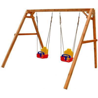 Качели Можга Деревянные качели с 2-мя качелями со спинкой (P911-2) garden toys качели 2 в1 10960