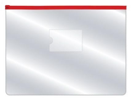Папка на молнии прозрачная, красная молния, ф.A4, 160мкм, с карманом