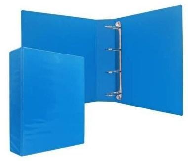 Папка-файл на 4 кольцах, голубая, PVC, 35 мм, диаметр 20мм. цена и фото