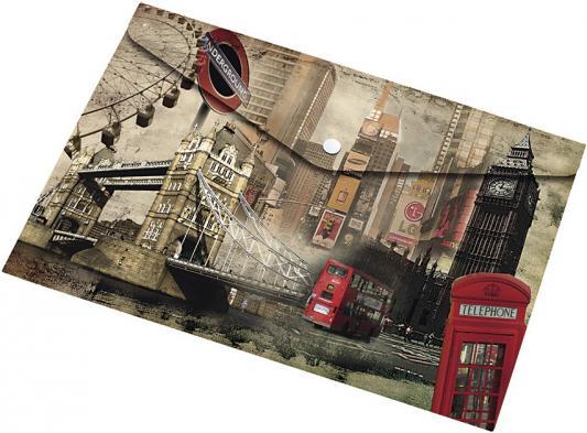 Папка-конверт на кнопке А4, 120 листов, материал PP, LONDON, 180 мкр папка 2 кольца желтая 180 листов 221795