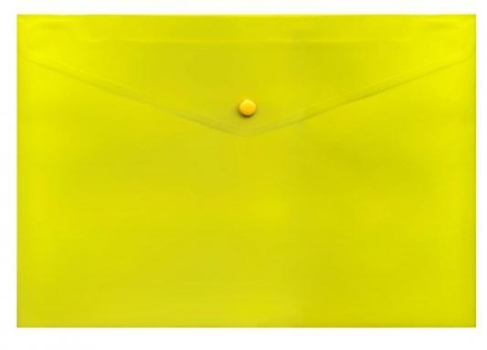 Папка-конверт с кнопкой, желтая, прозрачная, ф.A4, 180мкм папка конверт с кнопкой а5 прозрачная желтая