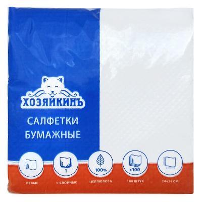 Салфетки бумажные ХОЗЯЙКИНЪ HZN-10010 1-слойные 100 шт