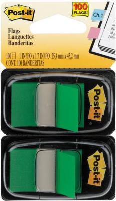 Закладки-ярлычки POST-IT*, на полимерн. основе, светло-зеленые, 25,4ммx43,2 мм,100 шт.