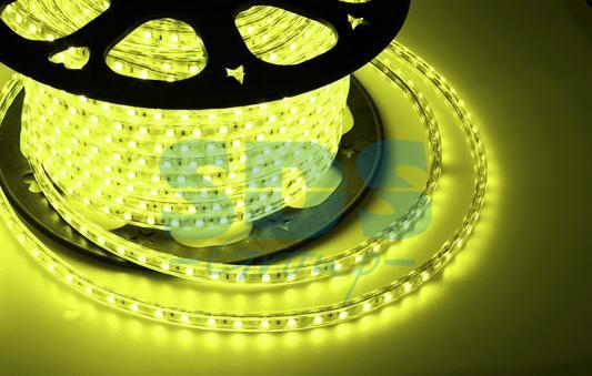LED лента 220В, 10*7 мм, IP65, SMD 2835, 60 LED/m Желтая, бухта 100 м tny278gn smd 7