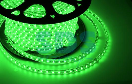LED лента 220В, 10*7 мм, IP65, SMD 2835, 60 LED/m Зеленая, бухта 100 м
