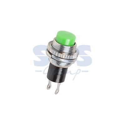 Выключатель-кнопка металл 220V 2А (2с) (ON)-OFF O10.2 зеленая Mini REXANT
