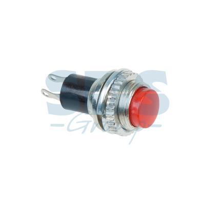 Выключатель-кнопка металл 220V 2А (2с) (ON)-OFF O10.2 красная Mini REXANT