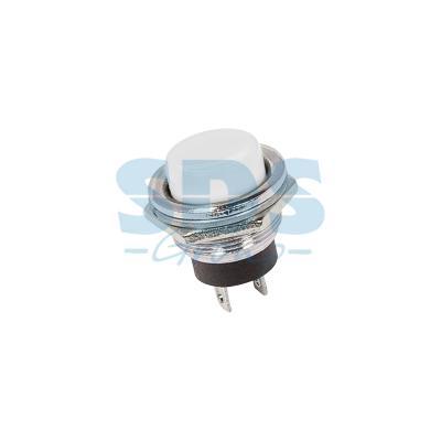 Выключатель-кнопка металл 250V 3А (2с) (ON)-OFF O16.2 белая REXANT