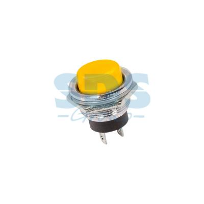 Выключатель-кнопка металл 250V 3А (2с) (ON)-OFF O16.2 желтая REXANT