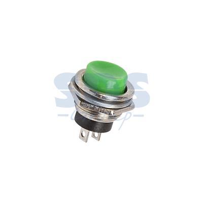 Выключатель-кнопка металл 250V 3А (2с) (ON)-OFF O16.2 зеленая REXANT