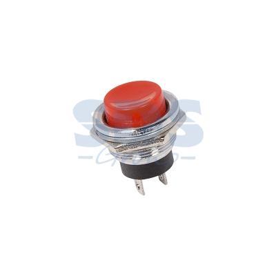 Выключатель-кнопка металл 250V 3А (2с) (ON)-OFF O16.2 красная REXANT
