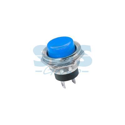 Выключатель-кнопка металл 250V 3А (2с) (ON)-OFF O16.2 синяя REXANT