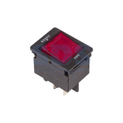 Выключатель - автомат клавишный 250V 15А (4с) RESET-OFF красный с подсветкой REXANT