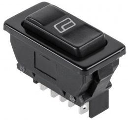 Выключатель (стеклоподъемника) клавишный 12V 20А (5с) (ON)-OFF-(ON) черный с подсветкой REXANT выключатель клавишный 250v 15а 6с on off on красный с подсветкой и нейтралью rexant