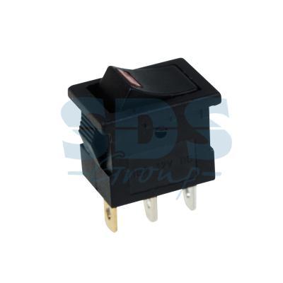 Выключатель клавишный 12V 15А (3с) ON-OFF черный с подсветкой Mini REXANT