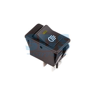 Выключатель клавишный 12V 35А (4с) ON-OFF с желтой LED подсветкой REXANT