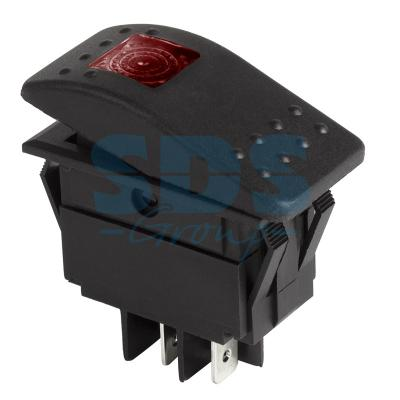 Выключатель клавишный 12V 35А (4с) ON-OFF красный с подсветкой REXANT