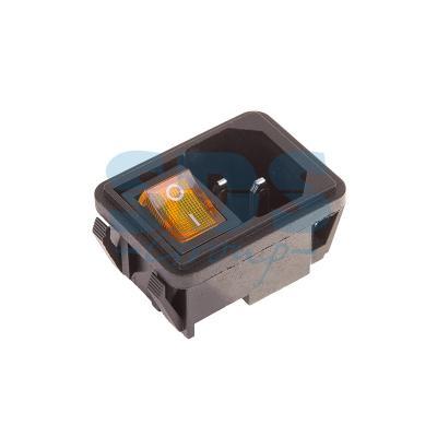 Выключатель клавишный 250V 10А (4с) ON-OFF желтый с подсветкой и штекером C14 3PIN REXANT