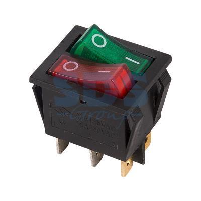 Выключатель клавишный 250V 15А (6с) ON-OFF красный/зеленый с подсветкой ДВОЙНОЙ REXANT 10щт