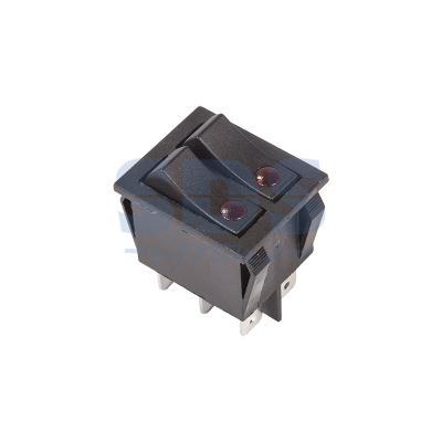 цена Выключатель клавишный 250V 15А (6с) ON-OFF черный с подсветкой ДВОЙНОЙ REXANT