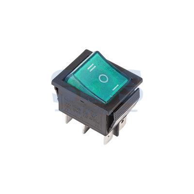 Выключатель клавишный 250V 15А (6с) ON-OFF-ON зеленый с подсветкой и нейтралью REXANT