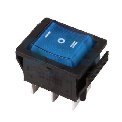 Выключатель клавишный 250V 15А (6с) ON-OFF-ON синий с подсветкой и нейтралью REXANT