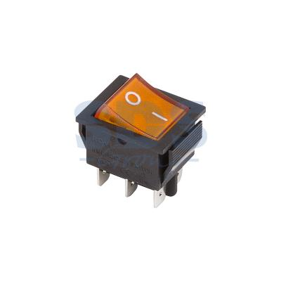 Выключатель клавишный 250V 15А (6с) ON-ON желтый с подсветкой REXANT
