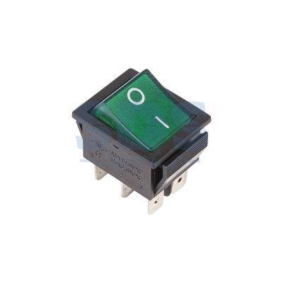 Выключатель клавишный 250V 15А (6с) ON-ON зеленый с подсветкой REXANT 5 pcs ac 6a 250v 10a 125v 3 pin black button on on round boat rocker switch