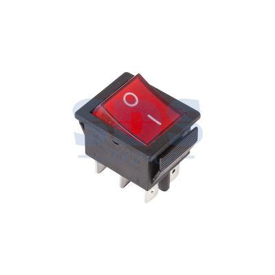 Выключатель клавишный 250V 15А (6с) ON-ON красный с подсветкой REXANT 5 pcs ac 6a 250v 10a 125v 3 pin black button on on round boat rocker switch