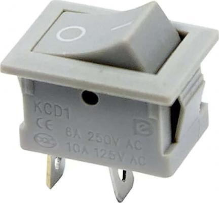 Выключатель клавишный 250V 6А (2с) ON-OFF серый Mini REXANT 10шт выключатель клавишный 250v 15а 6с on off on красный с подсветкой и нейтралью rexant