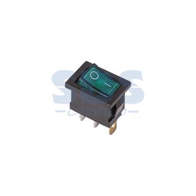 Выключатель клавишный 250V 6А (3с) ON-OFF зеленый с подсветкой Mini REXANT