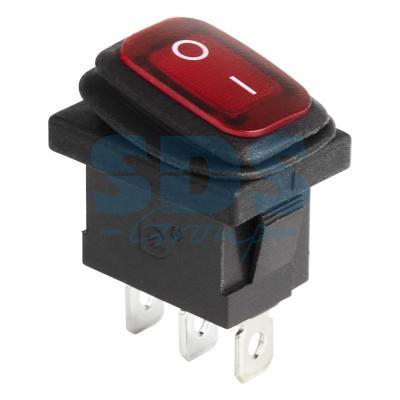 Выключатель клавишный 250V 6А (3с) ON-OFF красный с подсветкой Mini ВЛАГОЗАЩИТА REXANT