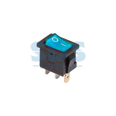 Выключатель клавишный 250V 6А (3с) ON-OFF синий с подсветкой Mini REXANT