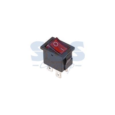 Выключатель клавишный 250V 6А (4с) ON-OFF красный с подсветкой Mini REXANT