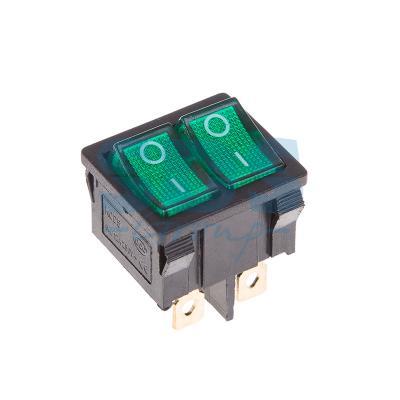 Выключатель клавишный 250V 6А (6с) ON-OFF зеленый с подсветкой ДВОЙНОЙ Mini REXANT катушка безынерционная shimano rarenium ci4 2500 fb
