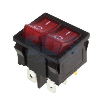 Выключатель клавишный 250V 6А (6с) ON-OFF красный с подсветкой ДВОЙНОЙ Mini REXANT 10шт тумблер 250v 3а 3c on on однополюсный micro mts 102 rexant индивидуальная упаковка 1 шт