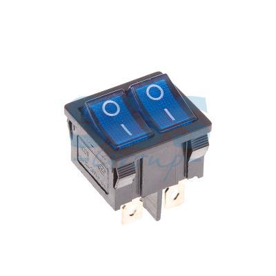Выключатель клавишный 250V 6А (6с) ON-OFF синий с подсветкой ДВОЙНОЙ Mini REXANT