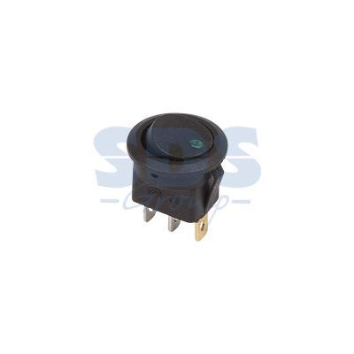 Выключатель клавишный круглый 12V 16А (3с) ON-OFF черный с зеленой подсветкой REXANT